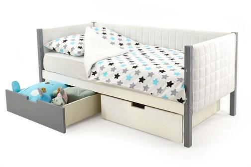 Детская кровать-тахта мягкая «Svogen графит-белый» - фото 13386