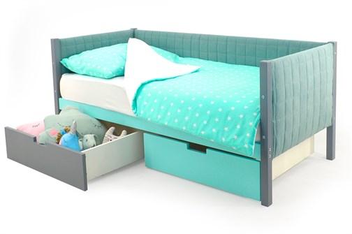 Детская кровать-тахта мягкая «Svogen графит-мятный» - фото 13397