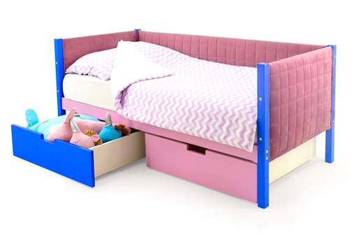 Детская кровать-тахта мягкая «Svogen синий-лаванда» - фото 13417