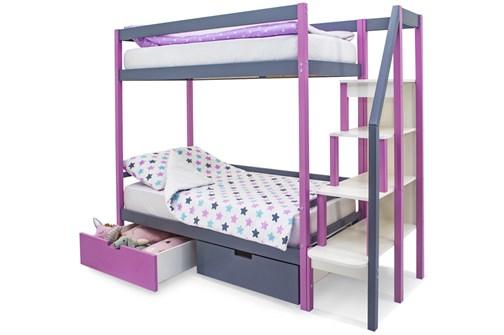 Двухъярусная кровать «Svogen» лаванда-графит - фото 21311