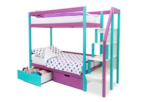 Двухъярусная кровать «Svogen» мятный-лаванда - фото 21334