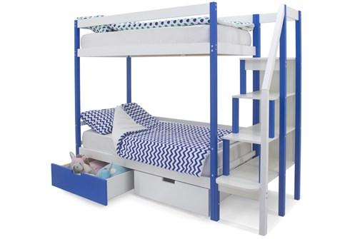Двухъярусная кровать «Svogen» сине-белый - фото 21383
