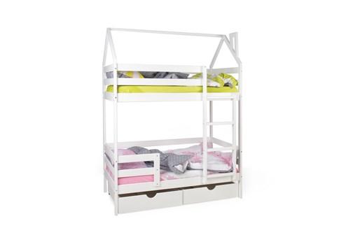 """Двухъярусная кровать-домик """"Scandi Barn"""" с бортиком (лестница справа) - фото 22367"""