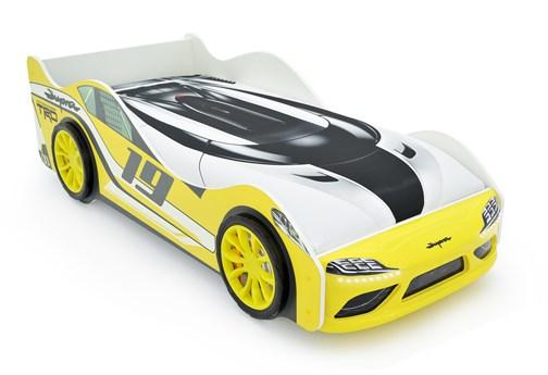 """Кровать-машина """"Супра"""" жёлтая с подъемным механизмом и подсветкой фар  - фото 24349"""