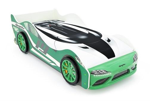 """Кровать-машина """"Супра"""" зелёная с подъемным механизмом и подсветкой фар - фото 24424"""