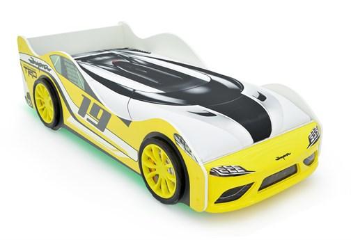 """Кровать-машина """"Супра"""" желтая с подъемным механизмом - фото 24706"""