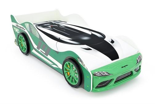 """Кровать-машина """"Супра"""" зелёная с подъемным механизмом - фото 24754"""