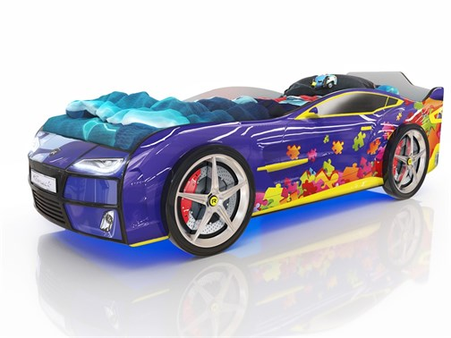 Кровать-машина Kiddy Синий Пазл - фото 6321