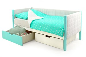 Детская кровать-тахта мягкая «Svogen мятно-белый»