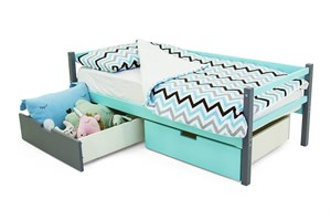 Детская деревянная кровать-тахта «Skogen графит-мятный»