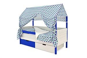 Кровать-домик мягкий «Svogen сине-белый»