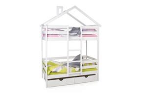 """Двухъярусная кровать-домик """"Scandi Hut"""" с бортиком (лестница по центру)"""
